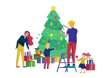 template greeting card winter Holidays. Merry Christmas and Happy New Year Website. People Characters family with present decorating Christmas tree isolated on background Illustration