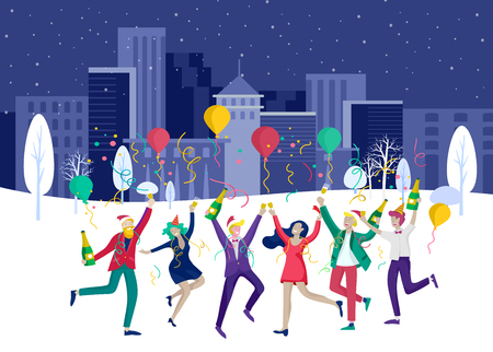 Landing page template or card winter Holidays corporate Party. Merry Christmas and Happy New Year Website with People Characters. Company of young friends or colleagues celebrates on Urban landscape