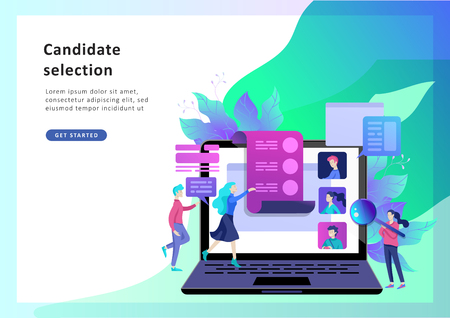 Concept Human Resources and selection candidates, banner, presentation, social media, documents. Recruitment for web page. Vector illustration filling out resumes, hiring employees  イラスト・ベクター素材