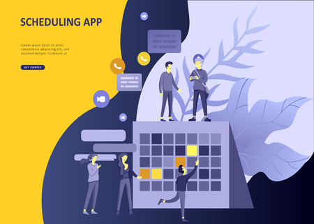 Set Landing page template people business scheduling app, strategic planning merger, investment strategies, career growth, research and development. Vector illustration concept website mobile Illustration