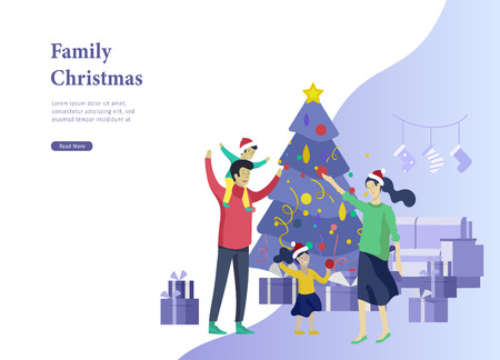 Landing page template greeting card winter Holidays. Merry Christmas and Happy New Year Website. People Characters family with present decorating Christmas tree on background of interior living room Vectores