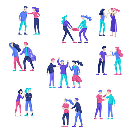 Vector people in bad emotions, character in conflict, angry or tired and in stress. Aggressive people yell at each other. Colorful flat concept illustration. Archivio Fotografico - 124033838