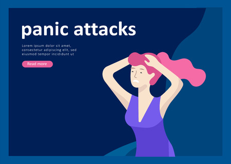 Landing page templates for psyhology mental problems, depression panic attacks, paranoia anger control, relationship family conflict, stress and misunderstanding, psychotherapy character Stock Vector - 124033861