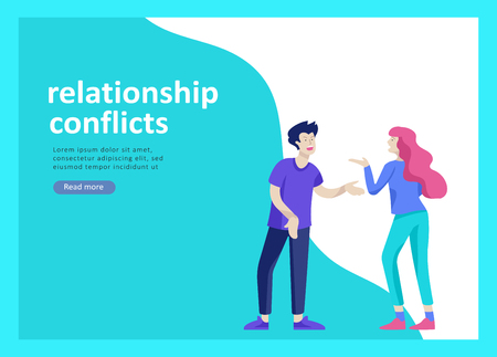 Landing page templates for psyhology mental problems, depression panic attacks, paranoia anger control, relationship family conflict, stress and misunderstanding, psychotherapy character Banco de Imagens - 124033873