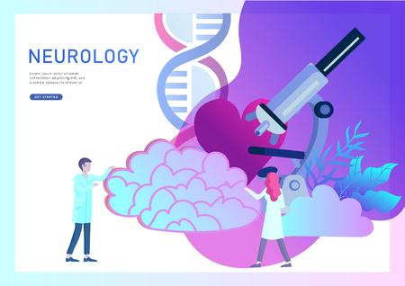 Concepto de genética de neurología. Equipo médico de médicos de personas pequeñas de estilo plano trabajando, construyendo ADN, investigando el ácido desoxirribonucleico. Cerebro, mente creativa, aprendizaje y diseño de plantilla de página de destino.