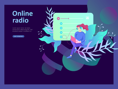 Concept of internet online radio streaming listening, people relax listen dance. Music applications, playlist online songs, radio station. Music blog, sound recording studio. Landing page template. Stock Vector - 124033889