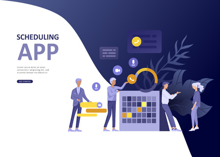 Set Landing page template people business scheduling app, strategic planning merger, investment strategies, career growth, research and development. Vector illustration concept website mobile