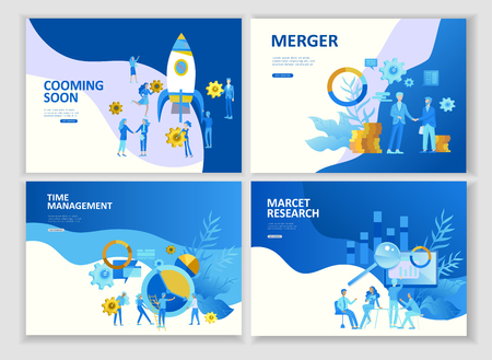 Set Landing page template people business app merger, focus group marcet research and development, cooming soon, time menegement solution. Vector illustration concept website mobile development Stock Illustratie