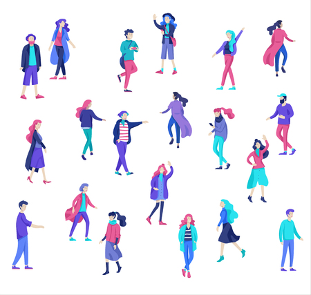 Vector people character walking on the street in autumn or winter clothes, friends and couples. Colorful Group of male and female flat cartoon characters
