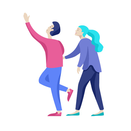 Vector people character walking on the street in autumn or winter clothes, friends and couples. Colorful Group of male and female flat cartoon characters Banque d'images - 124033928