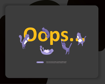 Landing page templates Error page illustration with cat or kitten characters and cat. Page not found. Vector concept illustration for 404 error with Funny cartoon workers