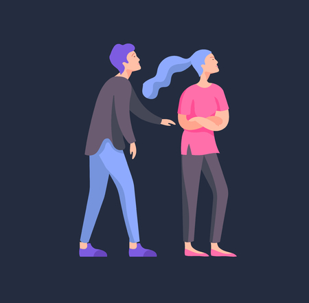 Vector people in bad emotions, character in conflict, angry or tired and in stress. Aggressive people yell at each other. Colorful flat concept illustration.
