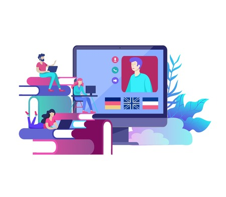 Online language courses, distance education, training. Language Learning Interface and Teaching Concept. Education Concept, training young people. Internet students Illustration