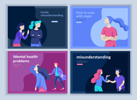 Set of Landing page templates for psyhology mental problems, depression panic attacks, paranoia anger control, relationship family conflict, stress and misunderstanding, group psychotherapy character Stock Vector - 124034027