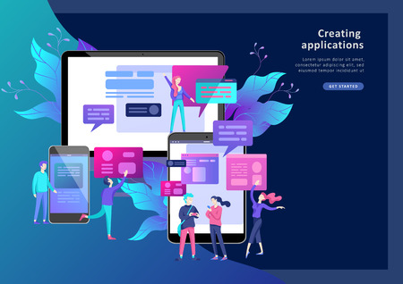 Vector illustration, small people are working on creating a website, applications, transferring information, vector illustration of the concept of web page design and development of mobile websites, Stock fotó - 124034037