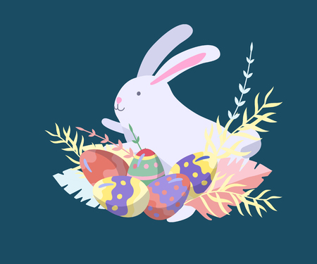 Easter Illustration with painted eggs and rabbit. Set of cute Easter cartoon character. Vector Spring holiday celebration design