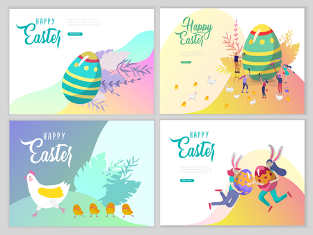 Easter landing page template with cartoon characters people paint painted eggs, cake, chicken and rabbit. Girl with bunny ears jumping and hold eggs. Vector Illustration Spring holiday design