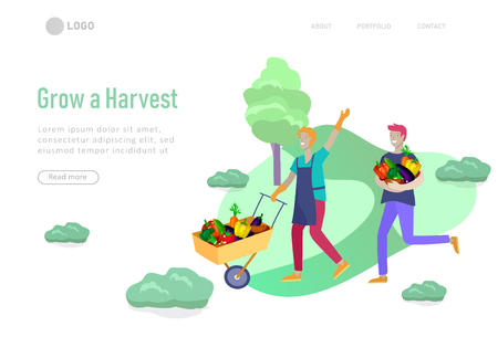landing page template Harvesting and gardening people, woman and man doing farming and garden job, planting, lay ripe vegetables to box. Reaping crop concept Illustration