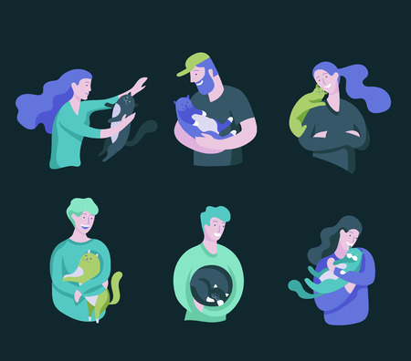 Vector character. Happy people with their pets, cat love their owners. Colorful flat concept illustration. Illustration