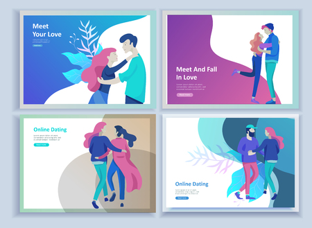 Online dating concept app login page with Funny cartoon characters couple. Modern graphic elements for web banners, web design, printed materials. Flat design vector illustration