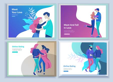 Online-Dating-Konzept-App-Anmeldeseite mit lustigen Zeichentrickfiguren. Moderne grafische Elemente für Webbanner, Webdesign, Drucksachen. Flaches Design-Vektor-Illustration