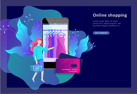 Landing page template of Online Shopping people and mobile payments. Vector illustration pos terminal confirms the payment using a smartphone, Mobile payment, online banking. Vectores