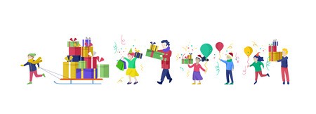 Happy group of children having fun at birthday party. Happy Christmas Day Celebrating together happy. Group of cartoon people in Santa hats and children. Jump and throw gift