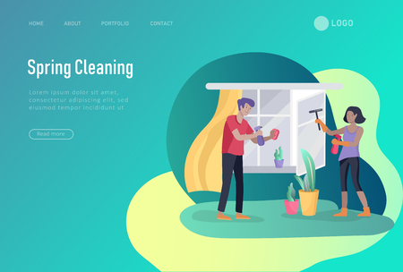 landing page template people home cleaning, washing and cleaning window, wipe dust, water flower. Vector illustration cartoon style Ilustração