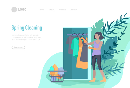 landing page template people home cleaning, clean the house, washing clothes iand putting things in the wardrobe or closet. Vector illustration of cartoon style