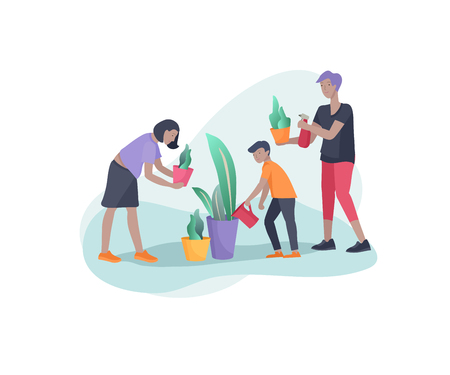 Scenes with family doing housework, kids helping parents with home cleaning, washing greens, cleaning home garden, water flower. Vector illustration cartoon style