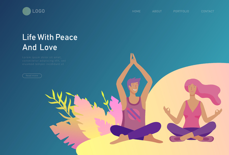 landing page template with Happy Lover Relationship, scenes with romantic couple doing yoga. Characters Valentine day Set. Colorful illustration Çizim