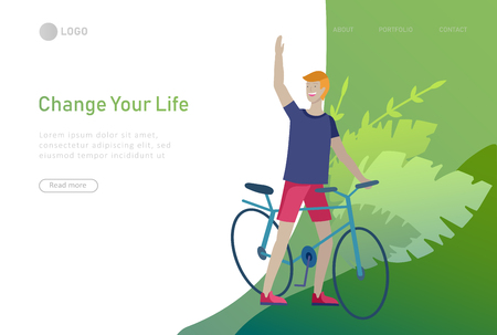 Landing page template with people riding bicycles, man waving his hand. People cycling outdoor activities concept at park, healty life style. Cartoon illustration  イラスト・ベクター素材