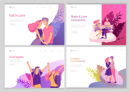 landing page template with Happy Lover Relationship, scenes with romantic couple online dating kissing, hugging, playing guitar, traveling. Characters Valentine day Set. Colorful vector illustration 版權商用圖片 - 124034110