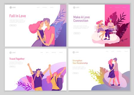 plantilla de página de destino con Happy Lover Relationship, escenas con pareja romántica en línea que data besándose, abrazándose, tocando la guitarra, viajando. Conjunto de caracteres del día de San Valentín. Ilustración de vector colorido