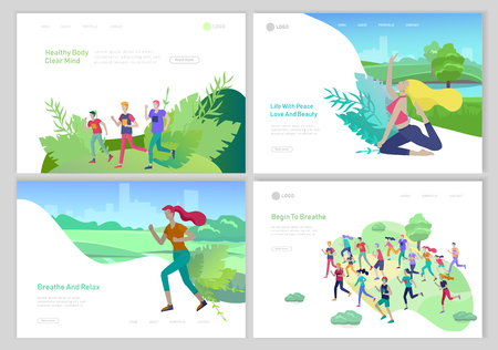 Landing page template with running group People, girl doing yoga workout, woman run. Healty life concept. People performing sports outdoor activities at park or Nature. Cartoon illustration