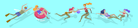 Mensenfamilie en kinderen in zee, zwembad of oceaan die activiteiten uitvoeren. Mannen of vrouwen zwemmen in badkleding, duiken, surfen, liggend op zwevend luchtbed, bal spelen. Cartoon vectorillustratie