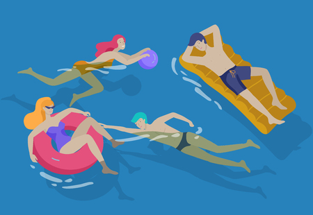 People family and children in sea, pool or ocean performing activities. Men or women swimming in swimwear, diving, surfing, lying on floating air mattress, playing ball. Cartoon vector illustration Stock Illustratie
