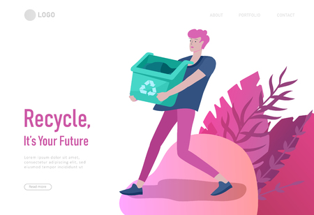 Landing page template with people Recycle Sort Garbage in different container for Separation to Reduce Environment Pollution. Family garbage. Earth Day vector cartoon illustration