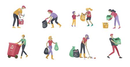 personas y niños Reciclan Clasifique la basura orgánica en diferentes contenedores para separarlos y reducir la contaminación ambiental. Familia con niños recolecta basura. Ilustración de dibujos animados de vector de día ambiental