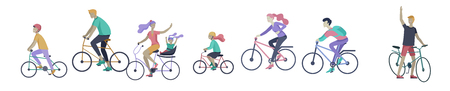 Young woman and man ride the bike, family and friends riding bicycles. Mom, dad and children on bike and cycling together. Sports outdoor activity. Cartoon vector illustration Stock Illustratie