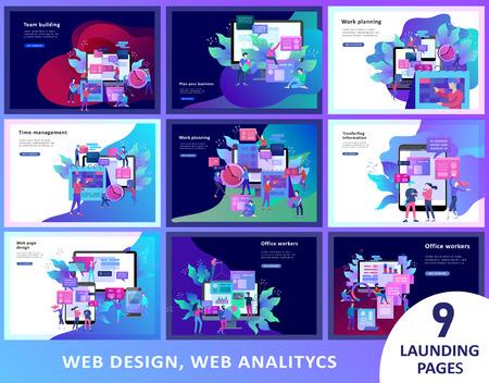 Concept Landing page template, flat style, businessmen discuss social network, news, social networks, chat, dialogue speech bubbles, new projects Illusztráció