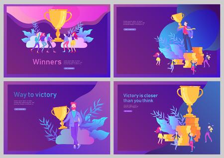 Zestaw szablonów strony docelowej. Sukces zespołu biznesowego posiada złoty puchar zwycięzcy, koncepcja ludzi jest zadowolonych ze zwycięstwa. Pracownicy biurowi świętują z Big Trophy, sposoby cele