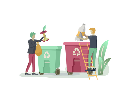 people Recycle Sort organic Garbage in different container for Separation to Reduce Environment Pollution. Man collect garbage in bag or container. Environmental day vector cartoon illustration
