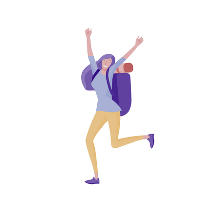 People characters woman for hiking and trekking, holiday travel vector, hiker and tourism illustration. Happy Tourists travelling with friends dancing and hugging Illustration