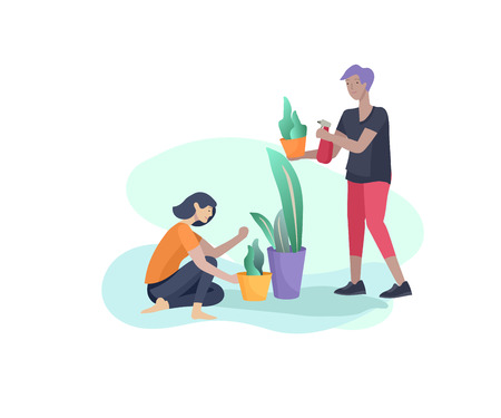 Scenes with family doing housework, couple home cleaning, washing greens, cleaning home garden, water flower. Vector illustration cartoon style