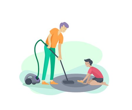 Scenes with family doing housework, kids boy helping father with home cleaning, washing dishes, fold clothes, cleaning window, carpet and floor, wipe dust, water flower. Vector illustration cartoon