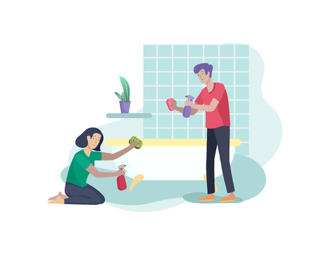 Scenes with family doing housework, couple man and woma home cleaning, washing toilet, wipe dust in bathroom. Vector illustration cartoon style Illustration