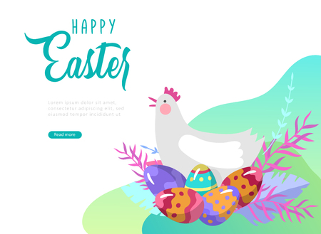 Easter landing page template with cartoon character chicken with painted eggs and rabbit. Vector Illustration celebration Spring holiday design