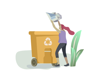 people Recycle Sort organic Garbage in different container for Separation to Reduce Environment Pollution. Woman collect paper garbage in bag or container. Environmental day vector cartoon illustration  イラスト・ベクター素材