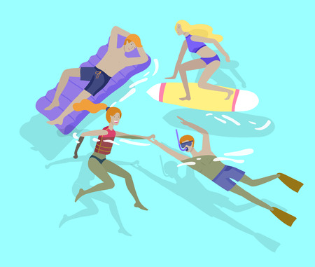People family and children in sea, pool or ocean performing activities. Men or women swimming in swimwear, diving, surfing, lying on floating air mattress, playing ball. Cartoon vector illustration Illustration